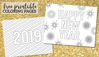 Happy New Year Coloring Pages Free Printable. New Year's coloring pages for kids and adults. Celebrate with New Year coloring sheets. #papertraildesign #freeprintables #free #NewYear #HappyNewYear #2019 #NewYearwithkids #NewYearcoloringpage