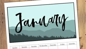 Free Printable Monthly Calendar 2019 - Mountain Trees. Outdoorsy treeline calendar. Nature and adventure lovers calendar. #papertraildesign #2019 #2019calendar #naturelovers #natureprintables #freeprintables #calendar2019 #deskcalendar