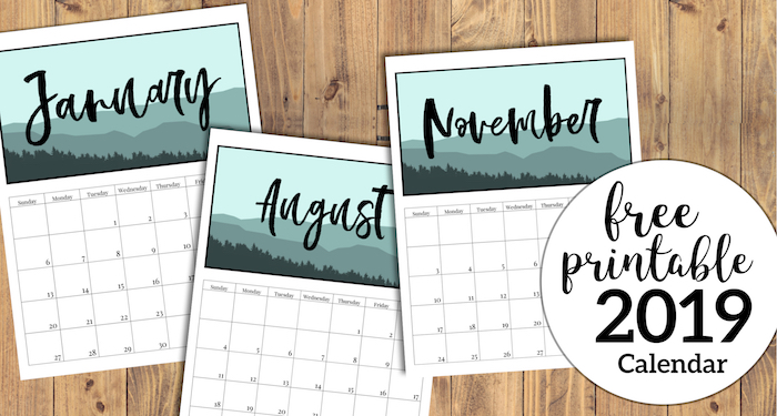 Free Printable Monthly Calendar 2019 - Mountain Trees. Outdoorsy treeline calendar. Nature and adventure lovers calendar. #papertraildesign #calendar #organize #nature #adventure #outdoorsy #organization #outdoorsman