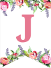 Floral Free Printable Alphabet Letters Banner. Make a personalized flower banner message fora birthday party, baby shower, or wedding. #papertraildesign #alphabetbanner #abcbanner #flowerbanner #babyshowers #bridalshowers #weddingshowers #birthdays #freeprintables