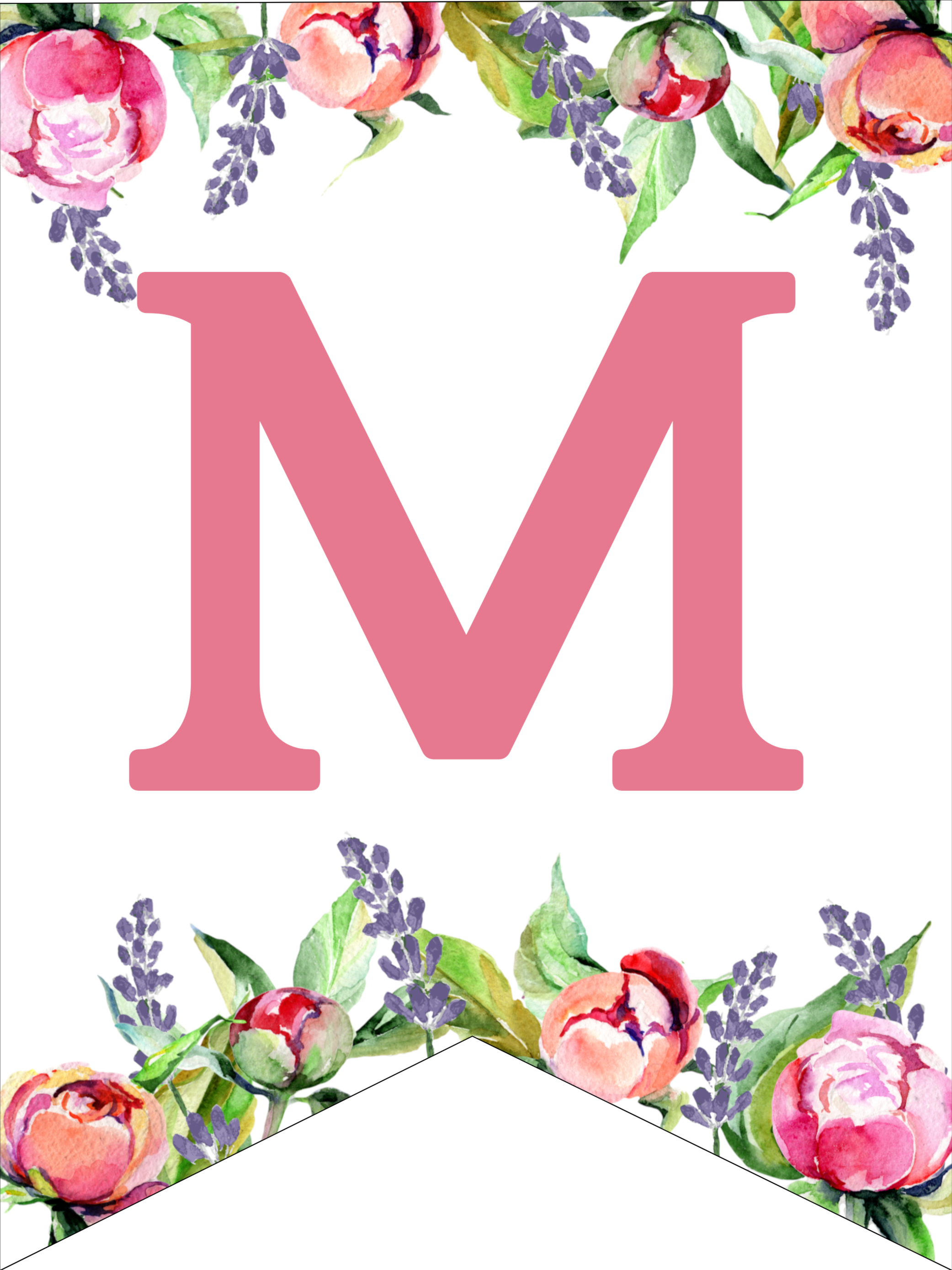 image regarding Printable Lettering Free referred to as Floral Cost-free Printable Alphabet Letters Banner - Paper Path