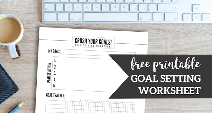 Free Printable Goal Setting Worksheet. Crush your goals and New Year resolutions. Track fitness goals with accountability worksheet. #papertraildesign #goals #goal #newyear #newyearresolutions #resolutions #accountability #accountabilitytracker #goaltracker #resolutiontracker #resolution
