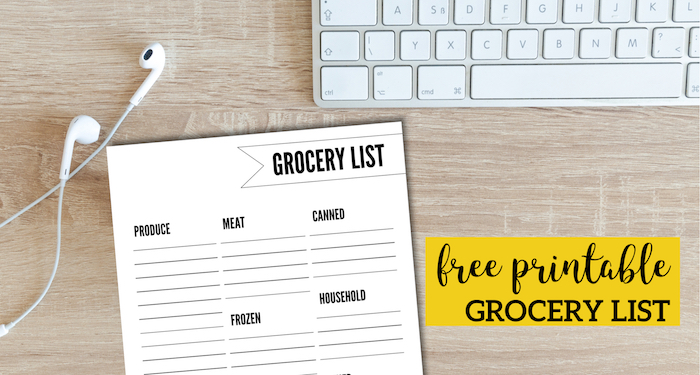 Free Printable Grocery List Template. Grocery shopping list to keep track of what food items to buy from the grocery store. #papertraildesign #mealplanning #menuplanning #mealplan #menuplan #groceryshopping #grocery #groceryshoppinglist #shoppinglist #freeprintable #household