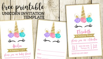 Free Printable Unicorn Invitations Template. Unicorn birthday invitation or unicorn baby shower invitation. Fill in or create digitally. #papertraildesign #Unicorn #unicornparty #unicornbirthdayparty #unicornbabyshower #unicornbirthdayparties #unicornbabyshowers #unicorninvitation #birthdayinvitation #babyshowerinvitation