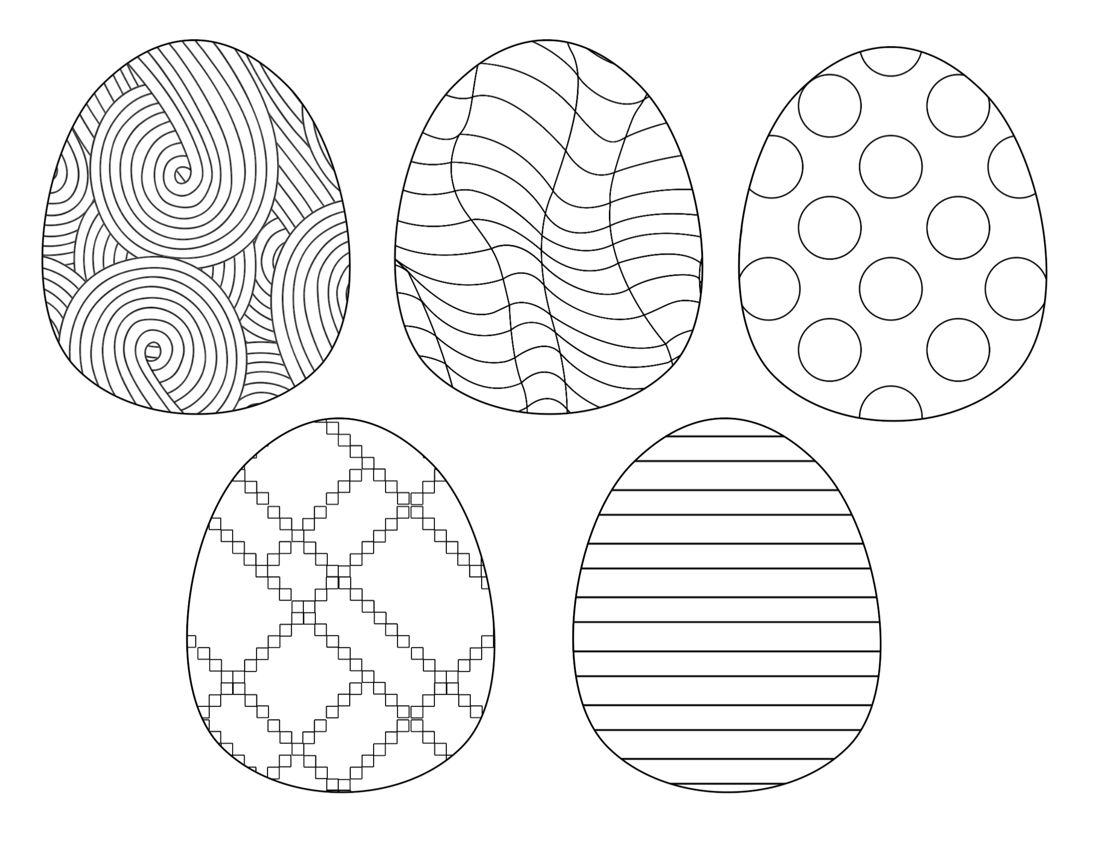 Happy easter with eggs coloring page