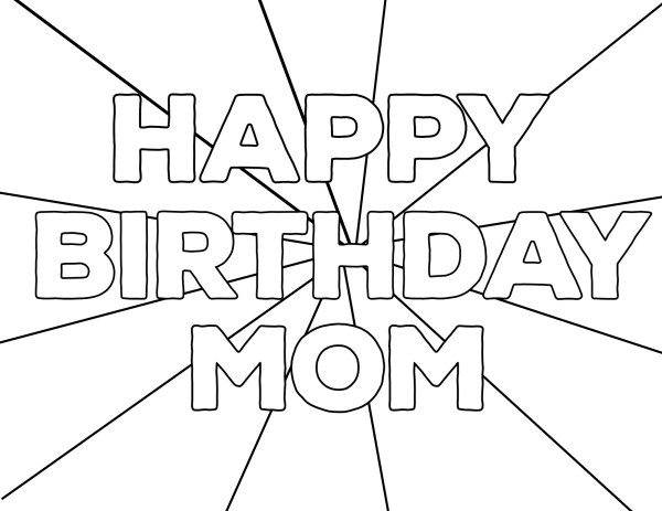 happy birthday mom coloring pages # 6