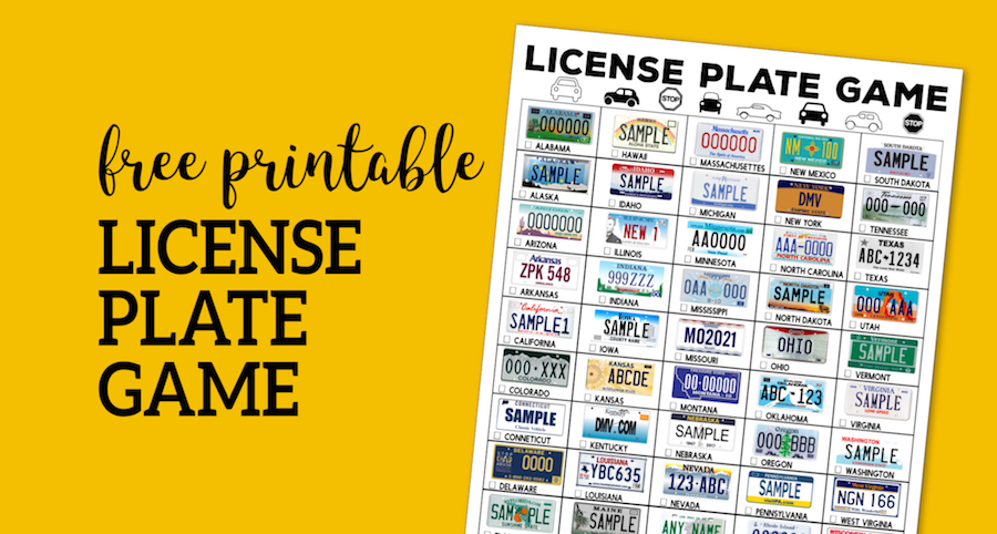 graphic relating to License Plate Game Printable called Street Getaway License Plate Recreation Printable - Paper Path Structure
