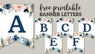Blue & Pink Floral Banner Letters Free Printable. Easy DIY Flower Alphabet banner for a birthday party, wedding, baby shower, or bridal shower. #papertraildesign #wedding #decor #party #partydecor #bridalshower #babyshower #birthdayparty #floral #flower #banner #flowerbanner