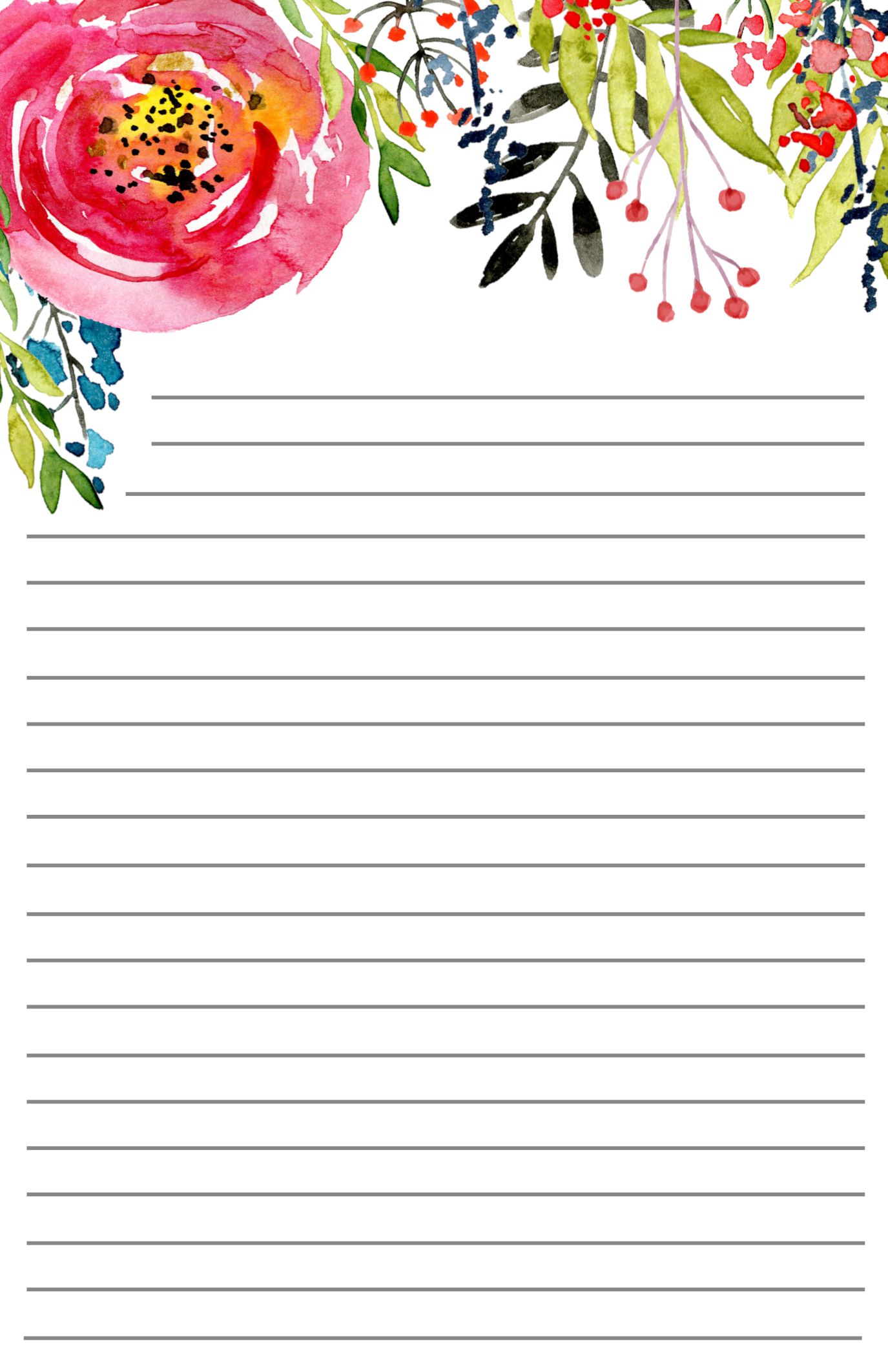 photo about Lined Stationery Printable identified as No cost Printable Floral Stationery - Paper Path Design and style