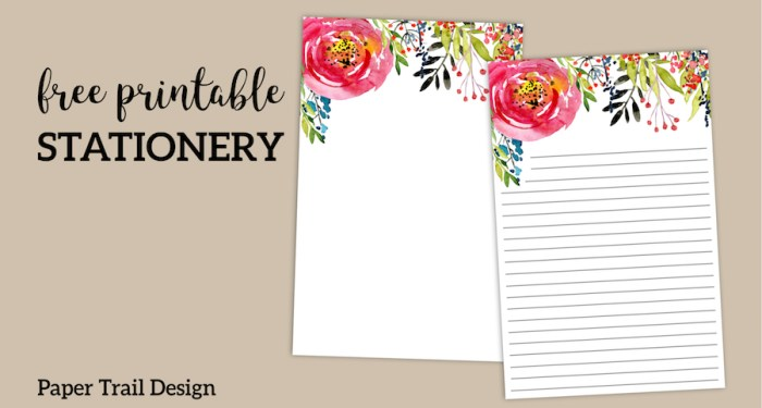 Free Printable Floral Stationery with or without lines. Cute lined watercolor flower stationery paper. Digital stationery or snail mail. #papertraildesign #stationery #linedstationery #stationary #stationerytemplate #free #freeprintable #printable