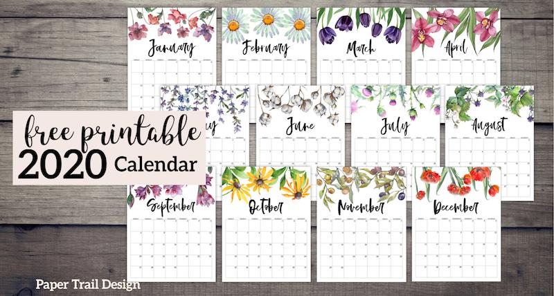 Printable Monthly Calendar 2020 Free 2020 Free Printable Calendar   Floral   Paper Trail Design