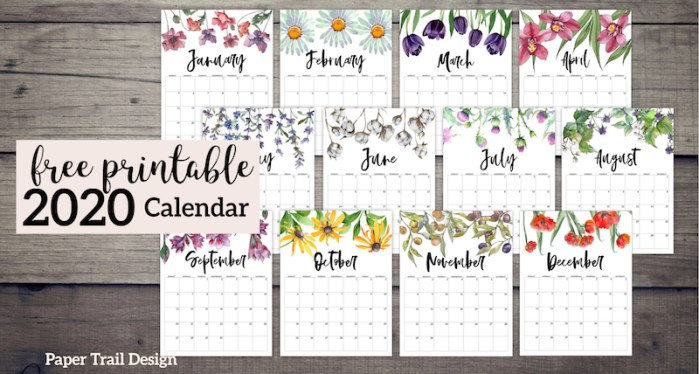 2020 Free Printable Calendar - Floral. Watercolor flower design calendar pages for a office or home calendar for work or family organization. #papertraildesign #2020 #calendar #2020calendar #floralcalendar