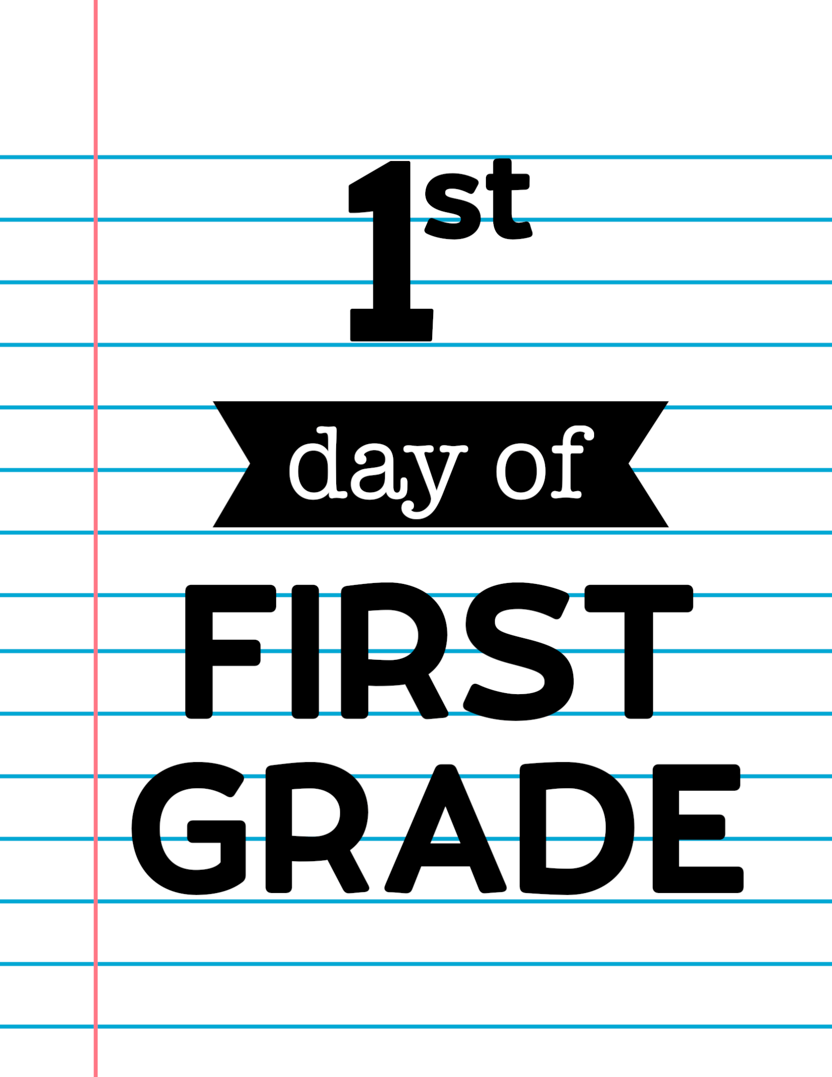 hight resolution of First Day of School Signs {Notebook Paper}   Paper Trail Design