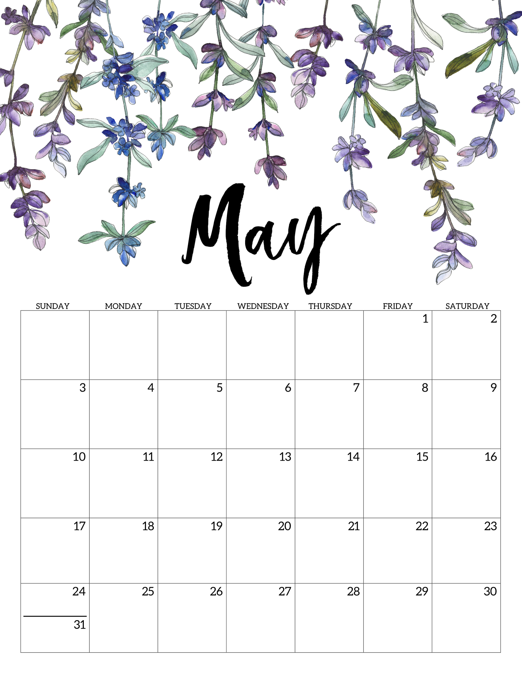 Cute May Calendar 2020 2020 Free Printable Calendar   Floral   Paper Trail Design