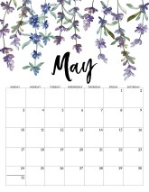 May 2020 Free Printable Calendar - Floral. Watercolor flower design calendar pages for a office or home calendar for work or family organization. #papertraildesign #calendar2020 #calendar #2020calendar #flowercalendar #floralprintables