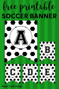 Free Printable Soccer Banner. Soccer party decorations idea. Print for soccer team party decor, birthday parties, or baby showers. #papertraildesign #soccerbirthdayparty #birthdayparty #birthdayparties #babyshower #soccerbabyshower #futbolparty #realfutbol #soccerrules #soccerrocks