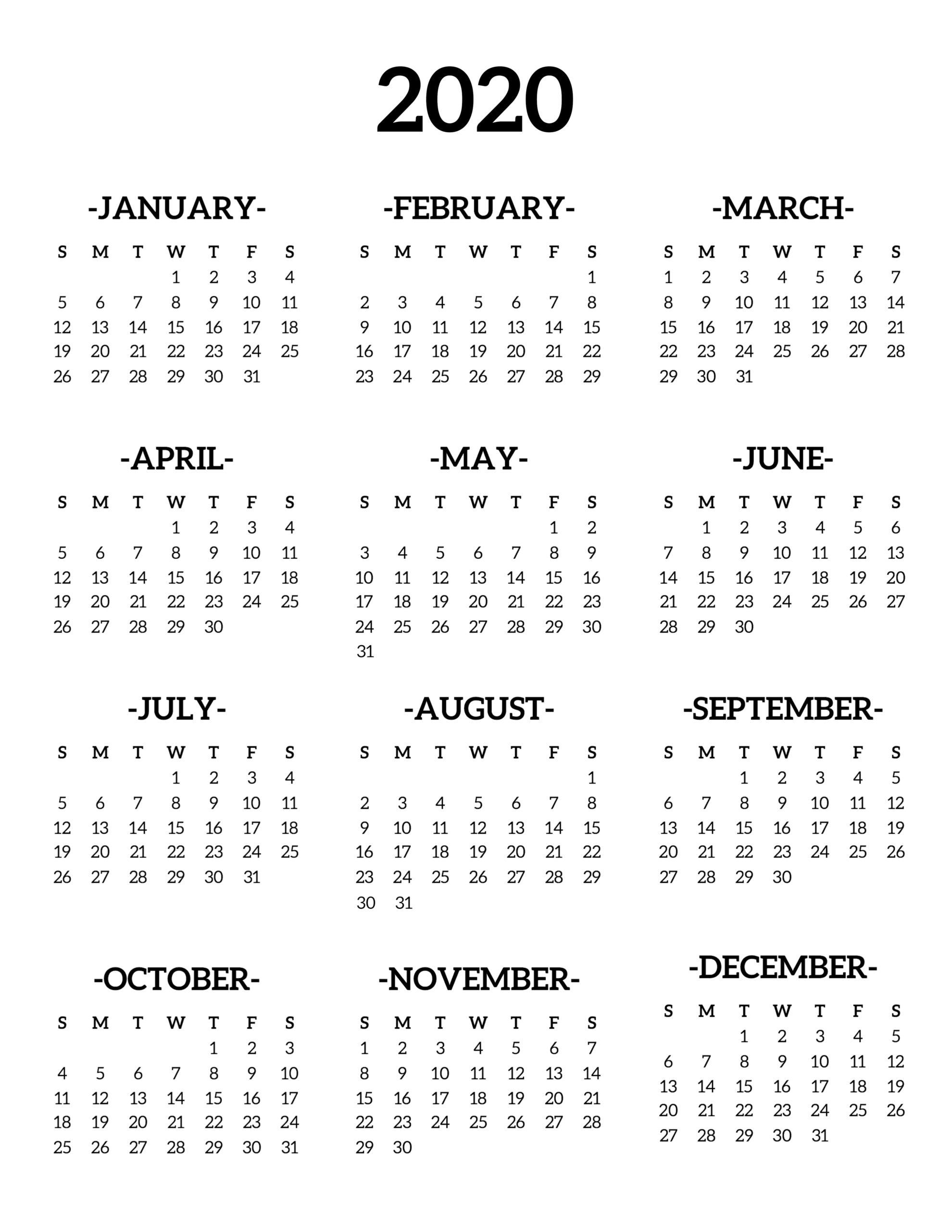 Calendar Print Out 2020 Calendar 2020 Printable One Page   Paper Trail Design