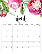 April Free Printable Calendar 2020 - Floral. Watercolor Flower design style calendar. Monthly calendar pages. Cute office or desk organization. #papertraildesign #calendar #floralcalendar #2020 #2020calendar #floral2020calendar