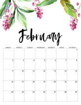 February Free Printable Calendar 2020 - Floral. Watercolor Flower design style calendar. Monthly calendar pages. Cute office or desk organization. #papertraildesign #calendar #floralcalendar #2020 #2020calendar #floral2020calendar