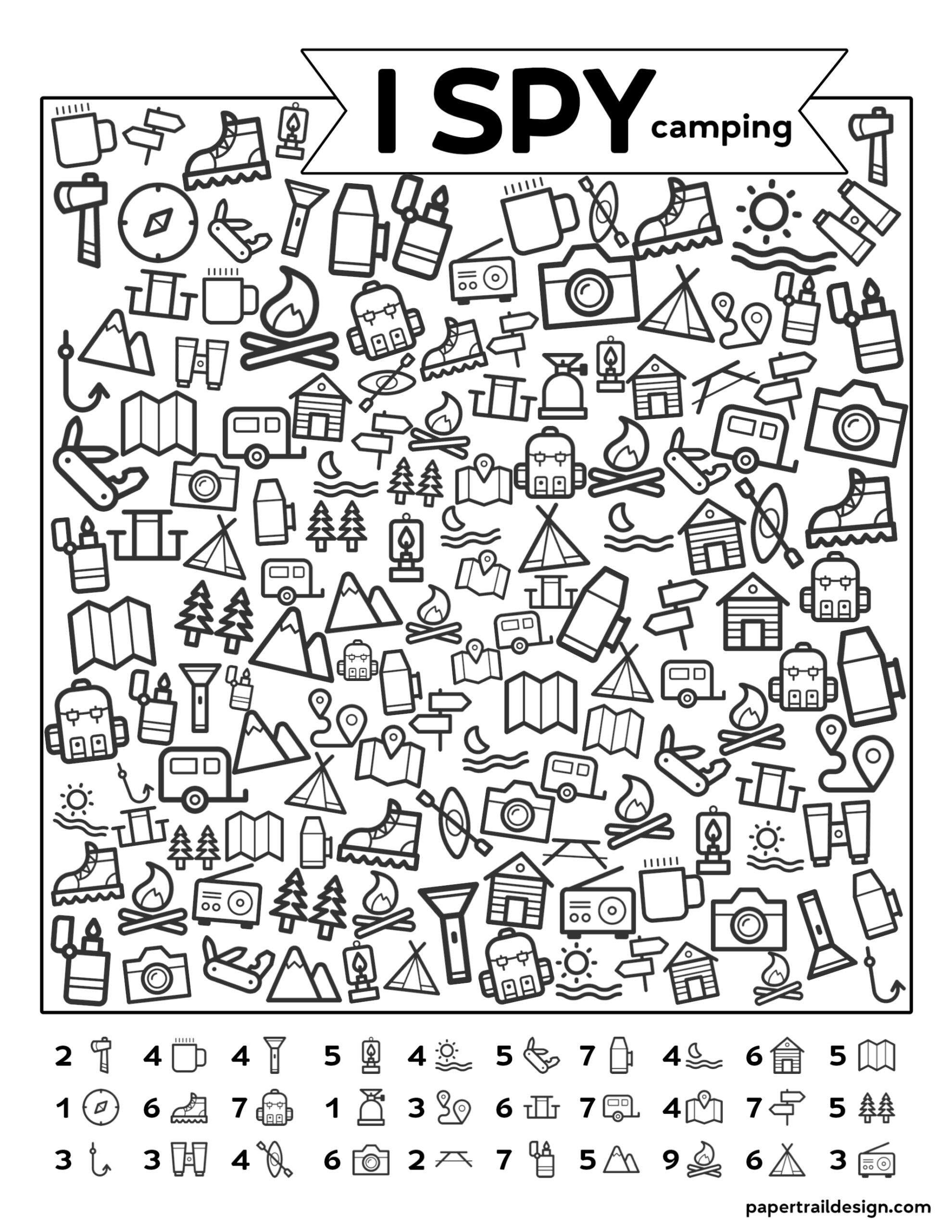 Free Printable I Spy Camping Kids Activity
