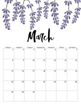 March Free Printable Calendar 2020 - Floral. Watercolor Flower design style calendar. Monthly calendar pages. Cute office or desk organization. #papertraildesign #calendar #floralcalendar #2020 #2020calendar #floral2020calendar