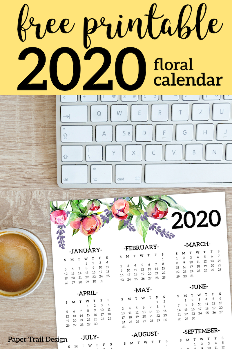 free printable 2020 calendar yearly one page floral