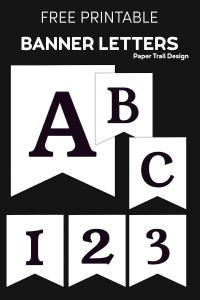 black and white banner letters A, B, C, 1, 2, 3 on a black background with text overlay- free printable banner letters