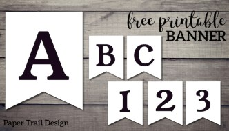 Black and white banner letters and numbers on a wood background with text overlay -free printable banner