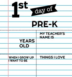 Editable First Day of School Signs - Notebook Paper   Paper Trail Design [ 2562 x 1980 Pixel ]
