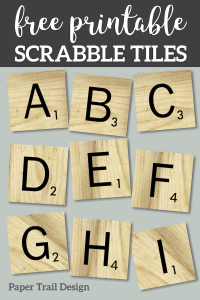 Scrabble letter tiles A through I with text overlay- free printable scrabble tiles