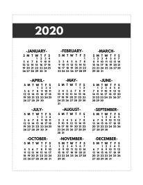2020 Printable One Page Year at a Glance Calendar in bold font in classic happy planner size.