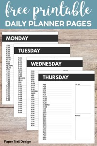 Monday, Tuesday, Wednesday, and Thursday, daily schedule planner pages with text overlay- free printable daily planner pages.