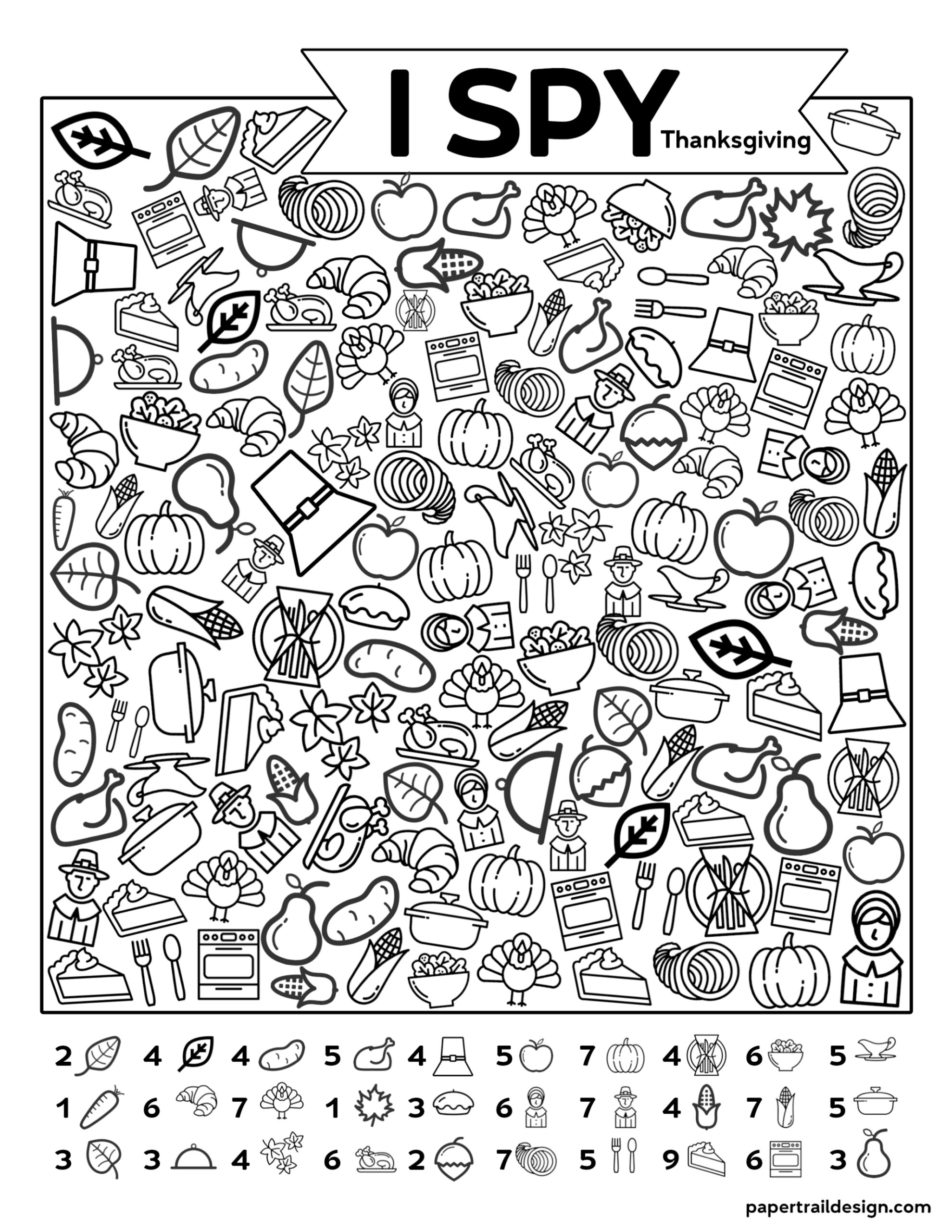 Free Printable I Spy Thanksgiving Activity