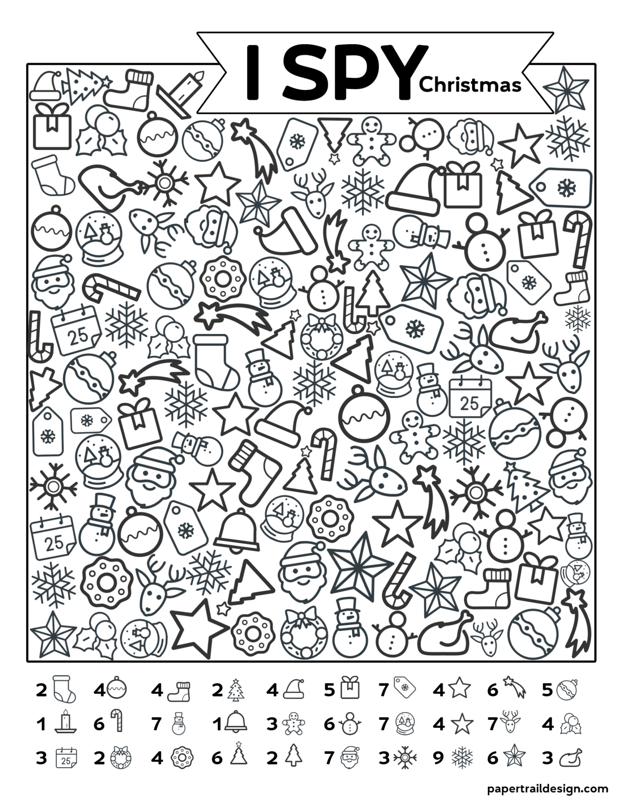 Free Printable I Spy Christmas Activity