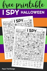 I spy Halloween game with Halloween pictures to find on the page with text overlay- free printable I spy Halloween.