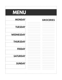 Classic happy planner size Meal Plan printable from Monday to Sunday with a grocery list.