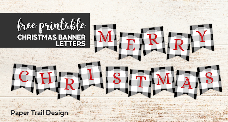picture regarding Merry Christmas Banner Printable identified as Plaid Xmas Banner Letters Printable - Paper Path Style