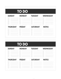 Mini happy planner size free printable weekly to do list from Sunday to Saturday with notes