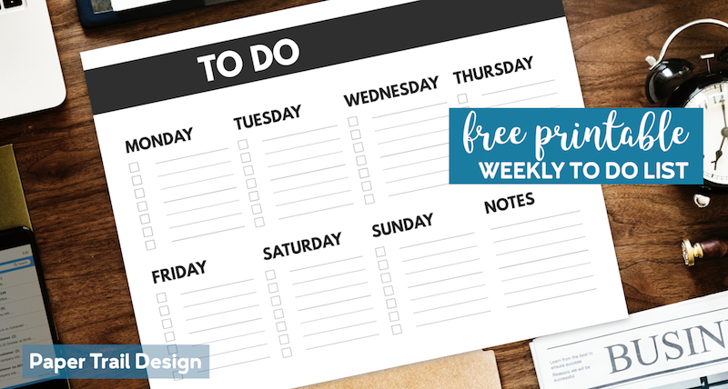 To Do list for each day of the week from Monday to Saturday and notes with text overlay- free printable weekly to do list