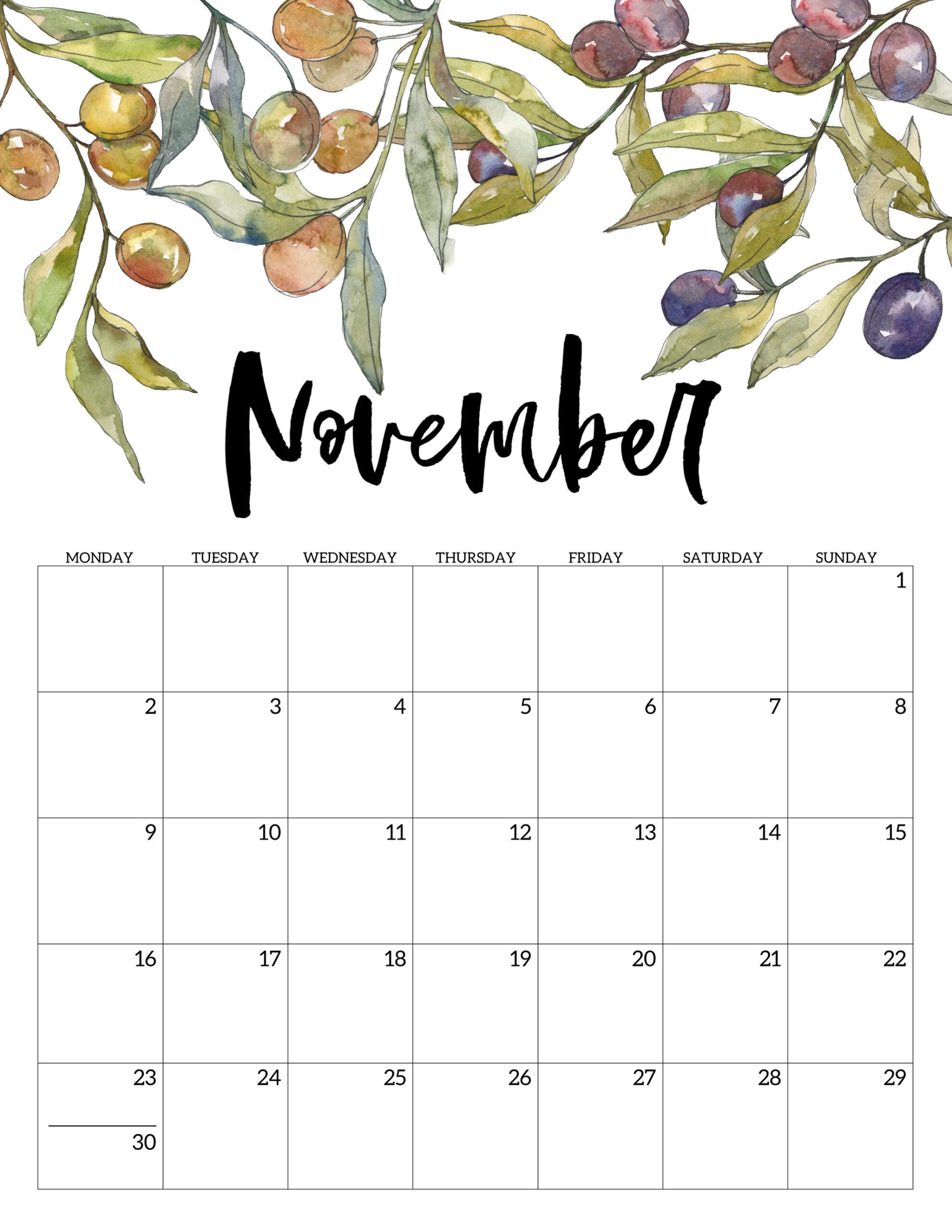 Free Printable 2020 Monday Start Calendar {Floral} | Paper ...
