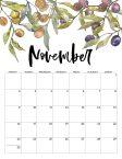November 2020 Monday start floral page printable