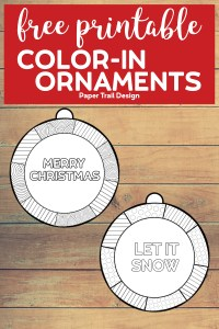 Merry Christmas and Let it Snow ornament to color in with text overlay- free printable color-in ornaments