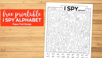 Free printable I spy alphabet game with abc letters to find on a wood background with text overlay- free printable I spy alphabet