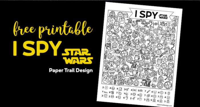 Star Wars I Spy activity printable page on black background with text overlay- free printable I Spy Star Wars