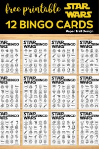 Star Wars Game Bingo Boards on wood background with text overlay- free printable Star Wars 12 bingo cards