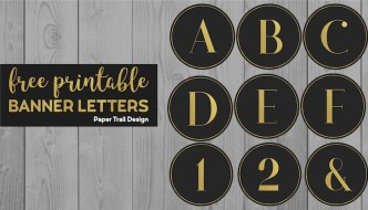 Black and gold banner letters a, b, c, d, e, f, 1, 2, & with text overlay- free printable banner letters