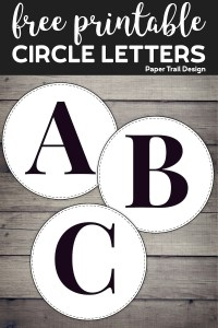 Circle banner letters A, B, & C with text overlay- free printable circle letters
