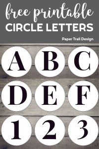 Circle banner letters A, B, C, D, E, F, and numbers 1, 2, 3, with text overlay- free printable circle letters