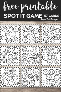 Emoji faces on cards that make a spot the match game with text overlay- free printable spot it game, 57 cards