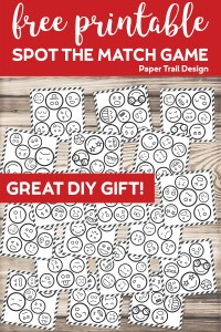 Emoji faces on cards that make a spot the match game with text overlay- free printable spot the match game, great DIY gift!
